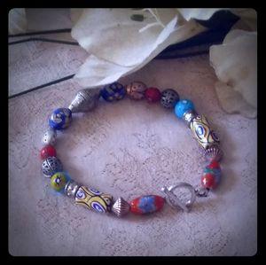 Vintage Trade & Glass Beads Toggle Bracelet